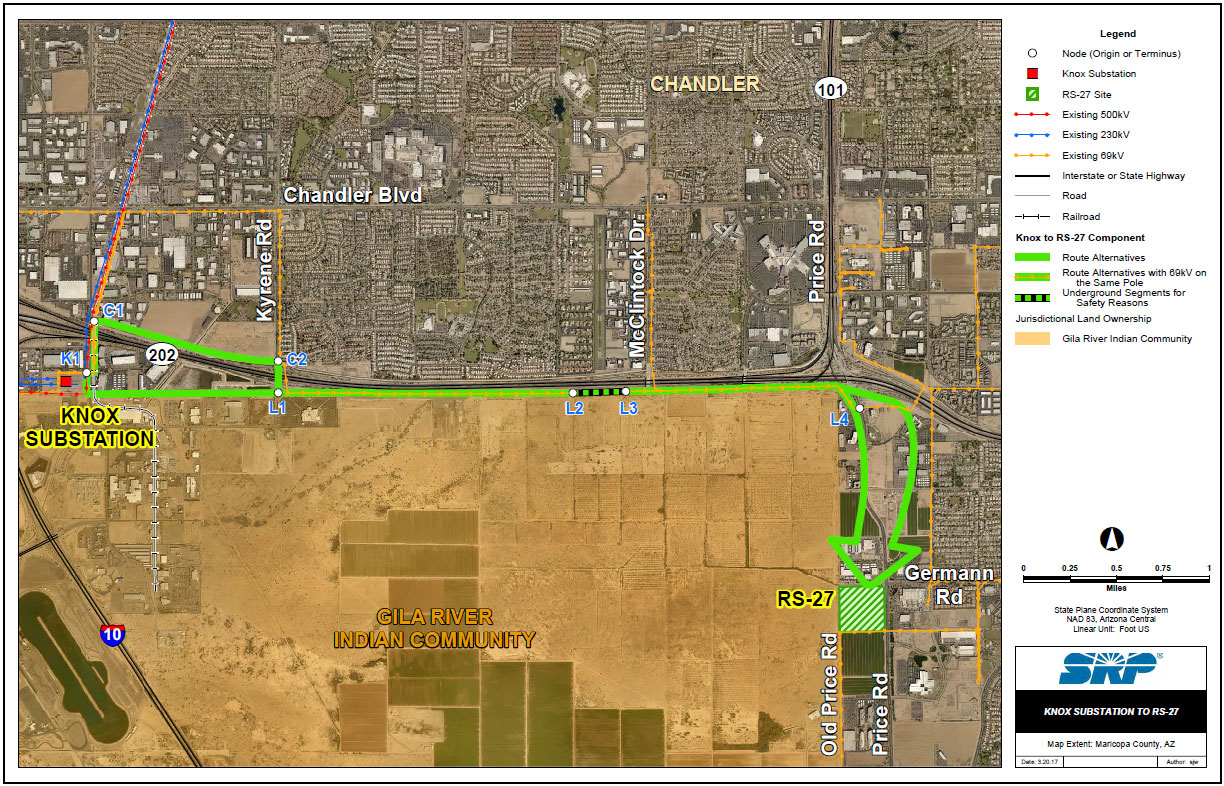 Price Road Corridor map highlighting a route from Knox to RS-27 substation.